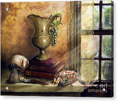 The Books By The Window Acrylic Print by Sandra Aguirre