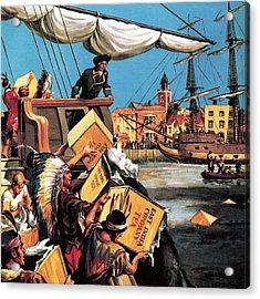 The Boston Tea Party Acrylic Print by English School