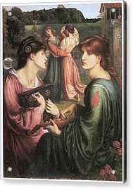 The Bower Meadow Acrylic Print by Dante Gabriel Rossetti