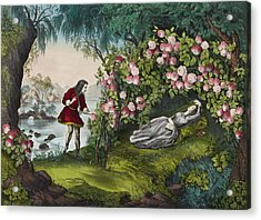 The Bower Of Roses Circa 1856 Acrylic Print by Aged Pixel