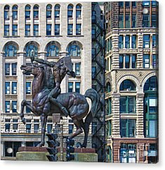 The Bowman - Chicago Indian Statue - 02 Acrylic Print by Gregory Dyer