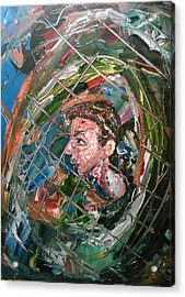 Acrylic Print featuring the painting The Boy In The Mirror by Ray Khalife