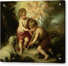 The Boys With The Shell, C.1670 Oil On Canvas Acrylic Print