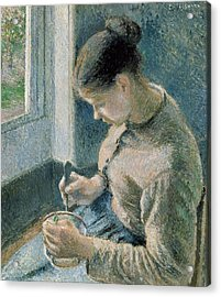 The Breakfast Acrylic Print by Camille Pissarro