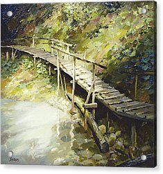 Acrylic Print featuring the painting The Bridge In The Mountains by Dmitry Spiros