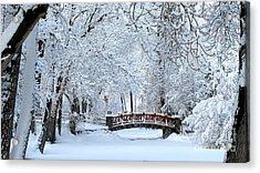 The Bridge In Winter Acrylic Print by Vinnie Oakes