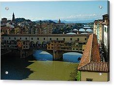The Bridges Of Florence Italy Acrylic Print by Georgia Mizuleva