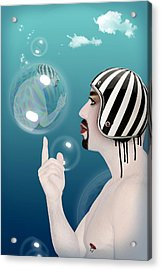 the Bubble man Acrylic Print by Mark Ashkenazi