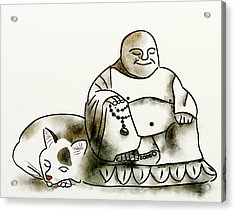 The Buddha And The Cat Acrylic Print