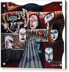 Acrylic Print featuring the painting The Buddhism Conception And The Human World by Fei A