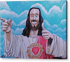 The Buddy Christ Acrylic Print by Jeremy Moore