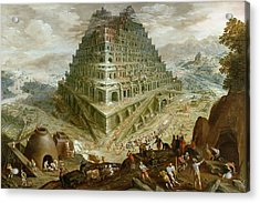 The Building Of The Tower Of Babel Acrylic Print by Marten van Valckenborch