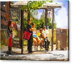 The Bus Stop Acrylic Print by Ted Azriel