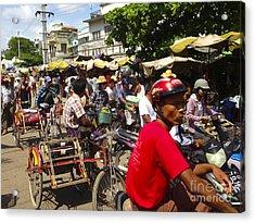 Acrylic Print featuring the photograph The Bustling Traffic On 27th Street Zay Cho Street Market Mandalay Burma by Ralph A  Ledergerber-Photography