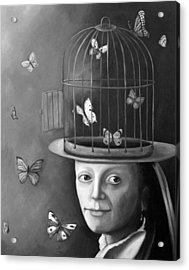 The Butterfly Keeper Bw Acrylic Print by Leah Saulnier The Painting Maniac
