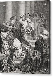 The Buyers And Sellers Driven Out Of The Temple Acrylic Print by Gustave Dore