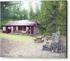 Acrylic Print featuring the painting The Cabin In The Woods by Albert Puskaric