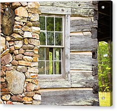 The Cabin Window Acrylic Print by Sally Simon