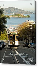 The Cable Car And Alcatraz Acrylic Print