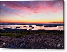 The Cadillac Mountain Sunrise Club Acrylic Print by Jeff Sinon