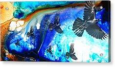 The Calling - Raven Crow Art By Sharon Cummings Acrylic Print
