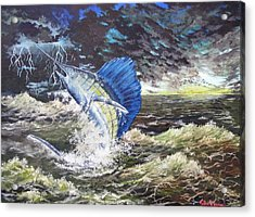 Acrylic Print featuring the painting The Calm The Crazy The Sailfish by Kevin F Heuman