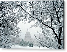 The Capitol In Snow Acrylic Print by Joe  Connors