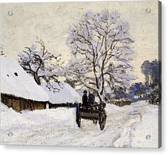 The Carriage- The Road To Honfleur Under Snow Acrylic Print by Claude Monet