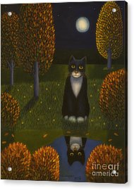 The Cat And The Moon Acrylic Print by Veikko Suikkanen