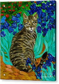 The Cat At Van Gogh's Irises Garden Acrylic Print