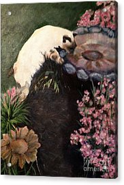 The Cats In The Garden Acrylic Print by Janet Felts