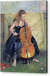 The Cello Player, 1995 Acrylic Print by Karen Armitage