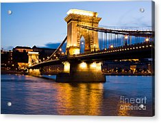 The Chain Bridge In Budapest Lit By The Street Lights Acrylic Print by Kiril Stanchev