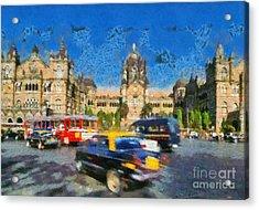 The Chatrapathi Station In Mumbai Acrylic Print