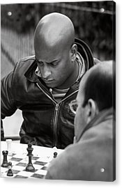 The Chess Player Acrylic Print by Bernard  Barcos