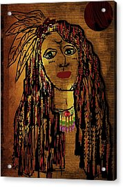 The Cheyenne Indian Warrior Brave Wolf Pop Art Acrylic Print by Pepita Selles