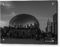 The Chicago Bean Black And White Acrylic Print