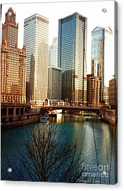 The Chicago River From The Michigan Avenue Bridge Acrylic Print by Mariana Costa Weldon