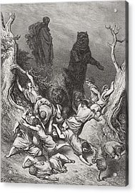 The Children Destroyed By Bears Acrylic Print by Gustave Dore