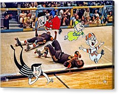 The Chipmunks Skating Roller Derby Acrylic Print by Jim Fitzpatrick