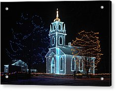 The Church - Alight At Night. Upper Canada Village Acrylic Print