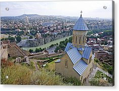 The Church Of St Nicolas Overlooking Tbilisi Georgia Acrylic Print
