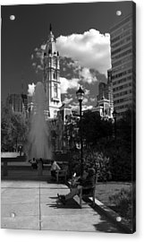 Acrylic Print featuring the photograph The City Hall Of Philadelphia In Black And White by Dorin Adrian Berbier