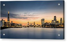 The City Of London In Sunset Scene Acrylic Print by Tangman Photography