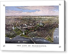 The City Of Washington Birds Eye View Acrylic Print by War Is Hell Store