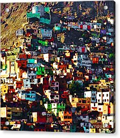 The City On The Hill V1 Square Acrylic Print by Wingsdomain Art and Photography
