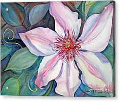 Acrylic Print featuring the painting The Clematis by Shirin Shahram Badie