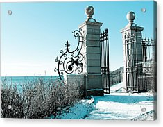 The Cliff Walk Covered In Snow Acrylic Print by Allan Millora