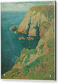 The Cliffs Of Stang Ile De Croix Acrylic Print by Henry Moret