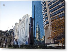 The Clothespin Statue And Reflection Of The Philadelphia City Hall Acrylic Print by Bill Cannon